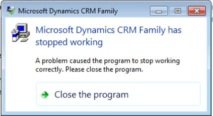 a problem caused the program to stop working correctly. Please close the  program.