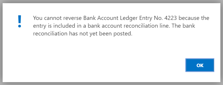 bank reconciliation lines can t be removed dynamics 365 business