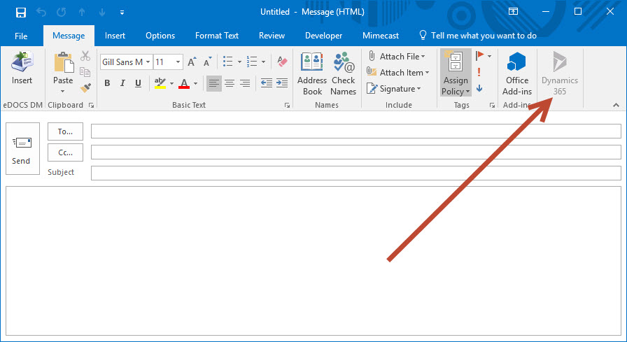 Dynamics 365 App For Outlook Option Grayed Out In