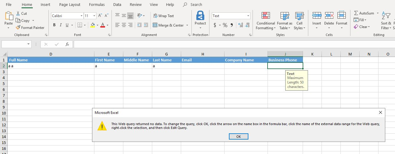 Dynamic export to Excel : Message