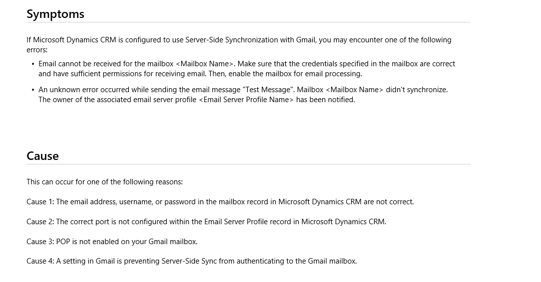 Office 365 Integration For Email - Dynamics 365 General
