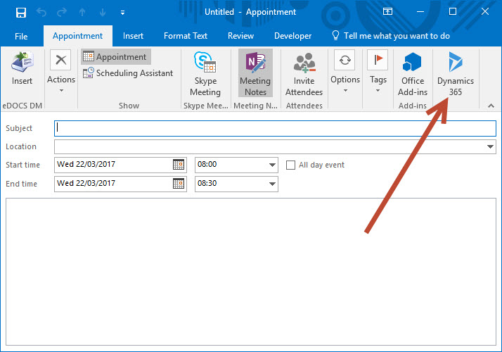 Dynamics 365 app for Outlook - option grayed out in compose