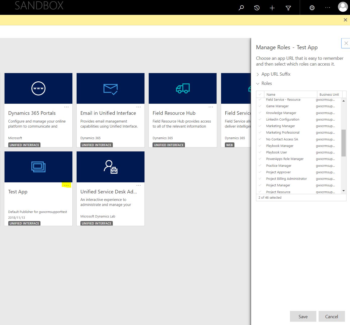 How to manage security roles for Apps in Dynamics 365 v 9 1