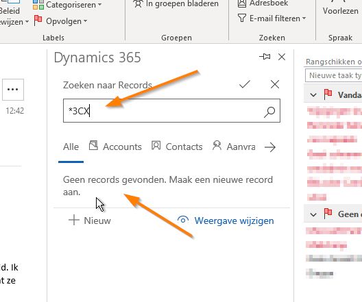 Regarding in Dynamics 365-app for Outlook only searches on