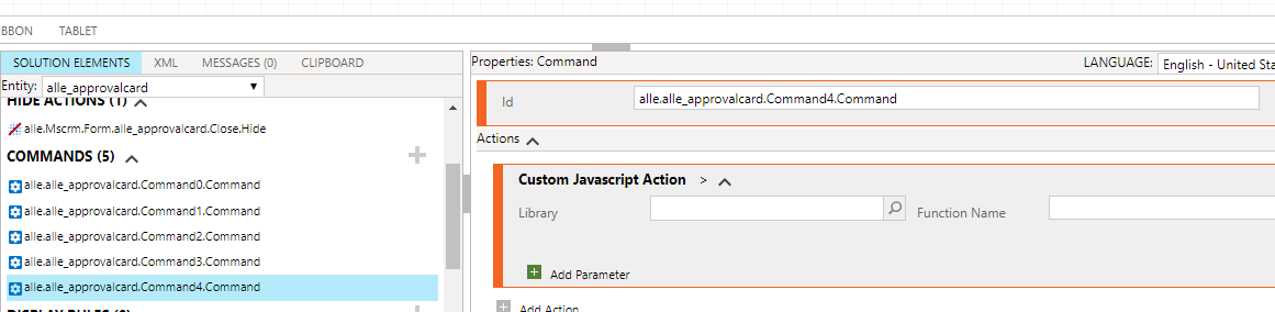 How to call a JavaScript function in ribbon workbench when passing