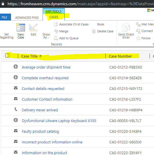 Resource Not Found (404) when query for all Cases records in