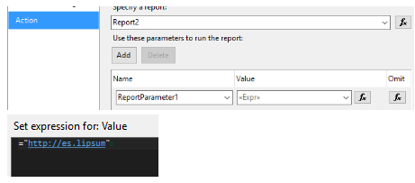 SSRS Action Go to URL Not Working in SubReport - Dynamics