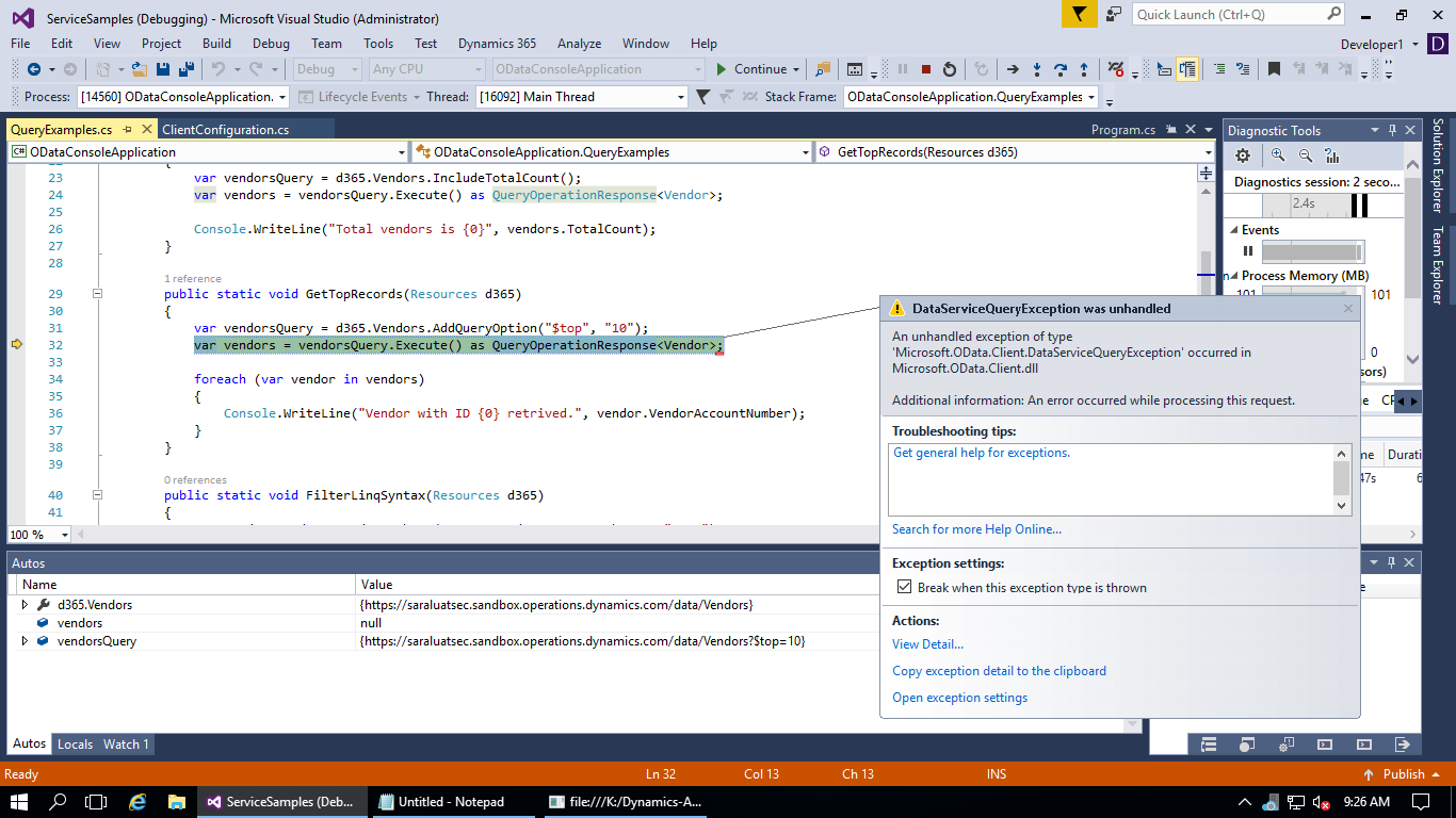 ODataConsoleApplication An unhandled exception of type 'Microsoft