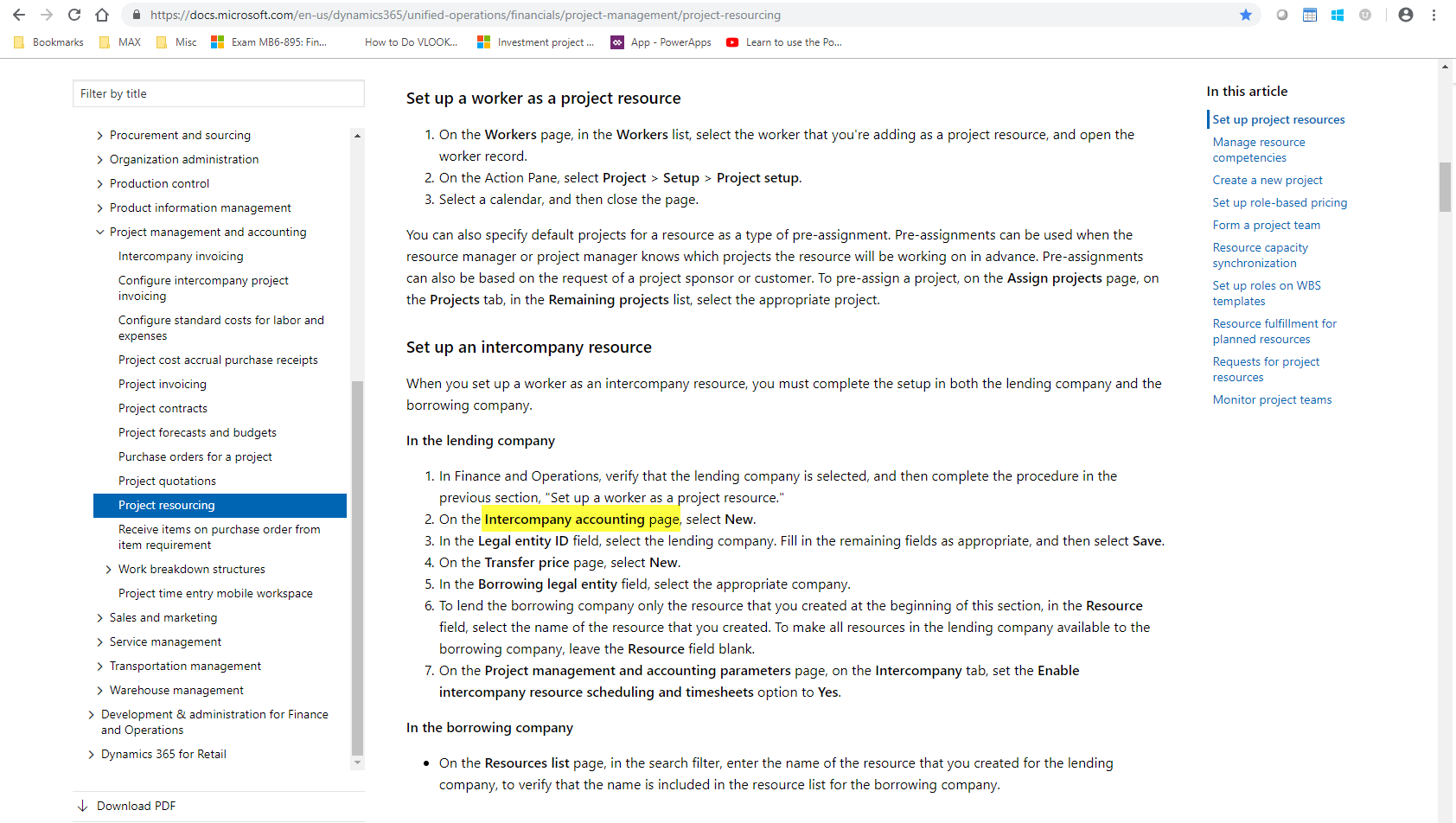 Intercompany accounting page - Dynamics 365 for Finance and