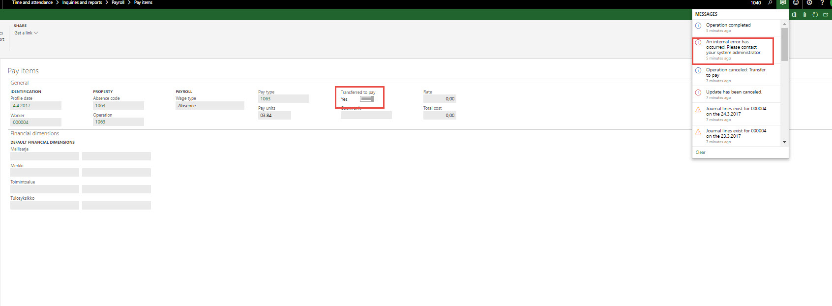 Time and attendance - transfer to pay - Dynamics 365 for