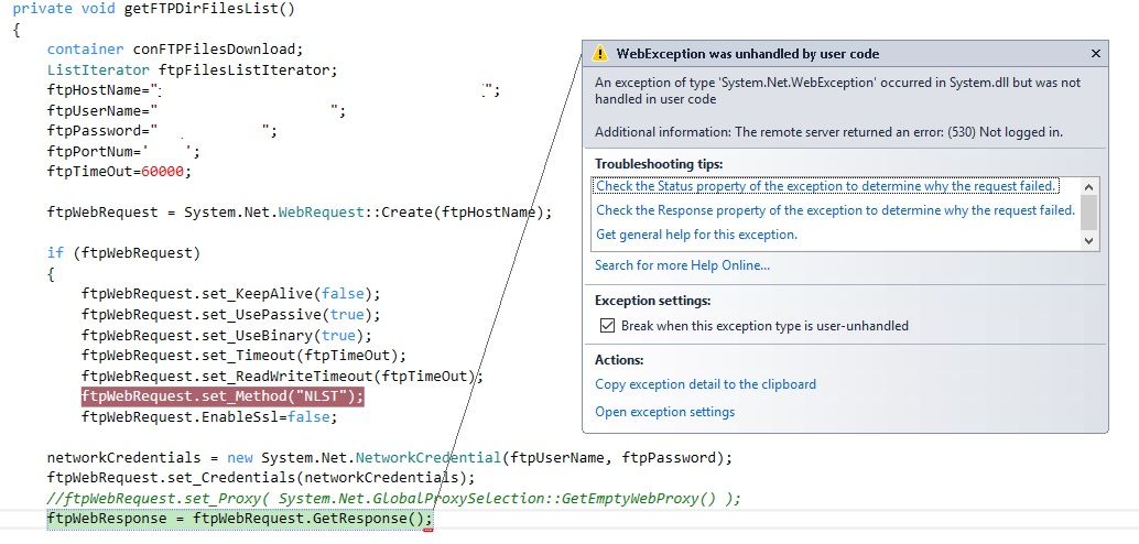 Connect to an FTP server, using X ++ Code from Visual Studio in an