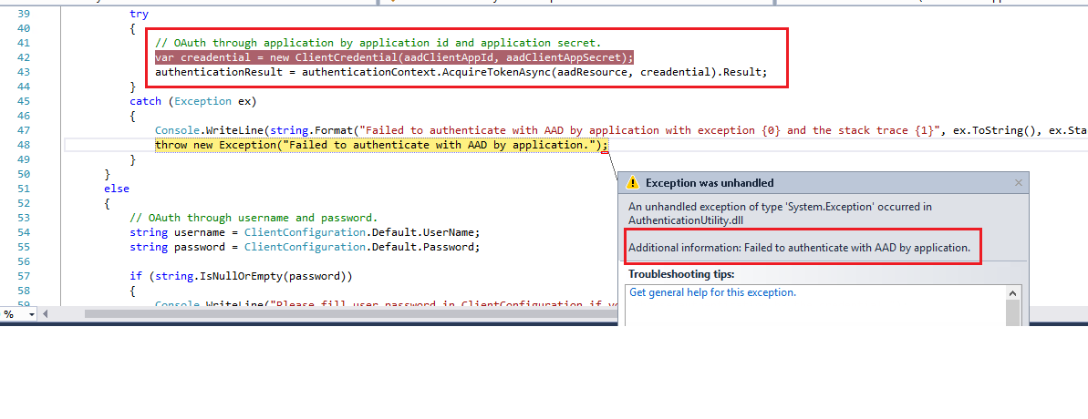 Authentication Error while developing custom service :Failed