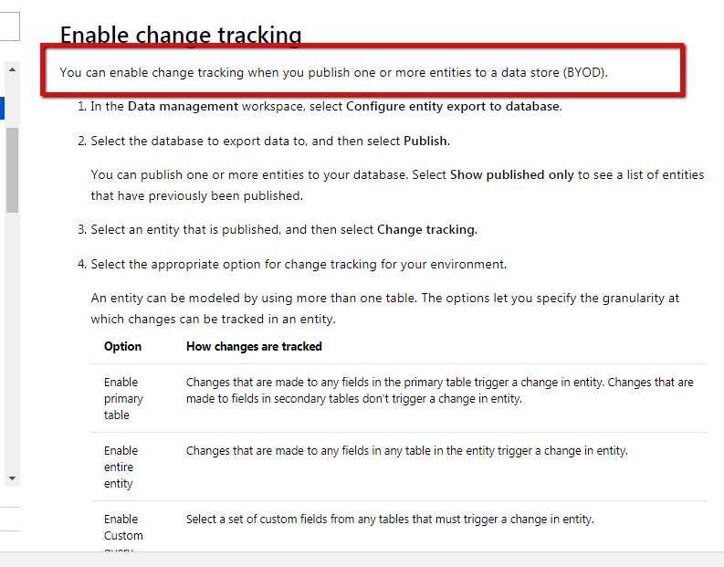 Data entity change tracking on CustTable - Dynamics 365 for