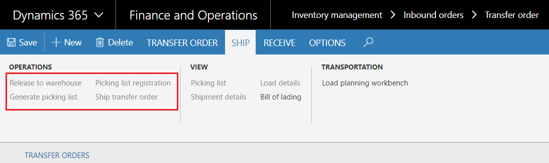 Ship transfer order button is disabled in Transfer Orders - Dynamics