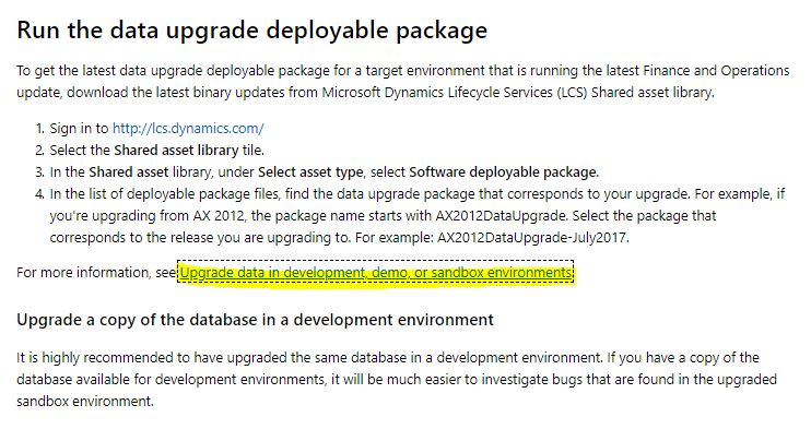 Data upgrade from AX R3 to Dynamics 365 FO on Cloud Hosted Sandbox