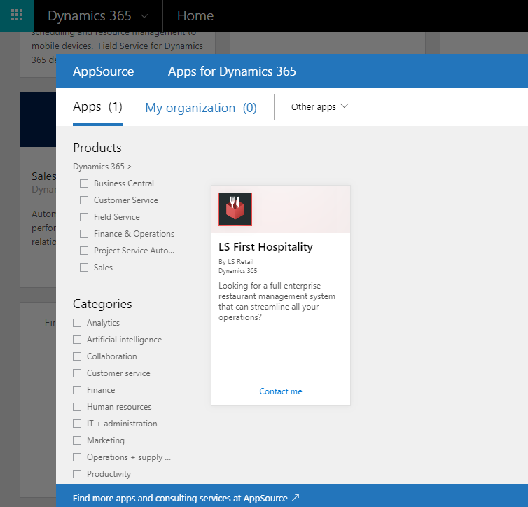 Dynamics 365 for Hospitality solution - Dynamics 365 for Finance and