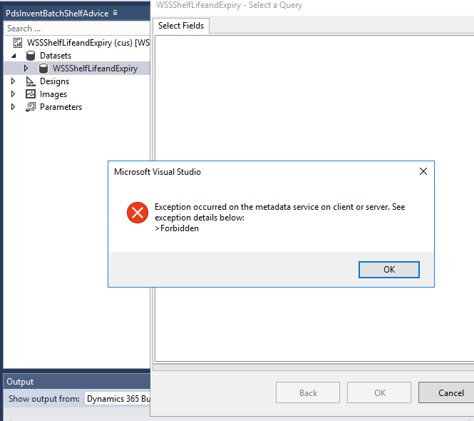 Exception occurred on the metadata service on client or