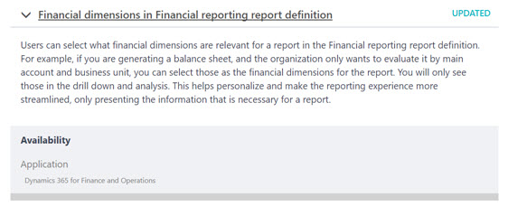 When I Go To Menu Item For Financial Reports And Look At The Building Block  For Report Definition, I Am Not Seeing A Setup To Select Financial  Dimensions.