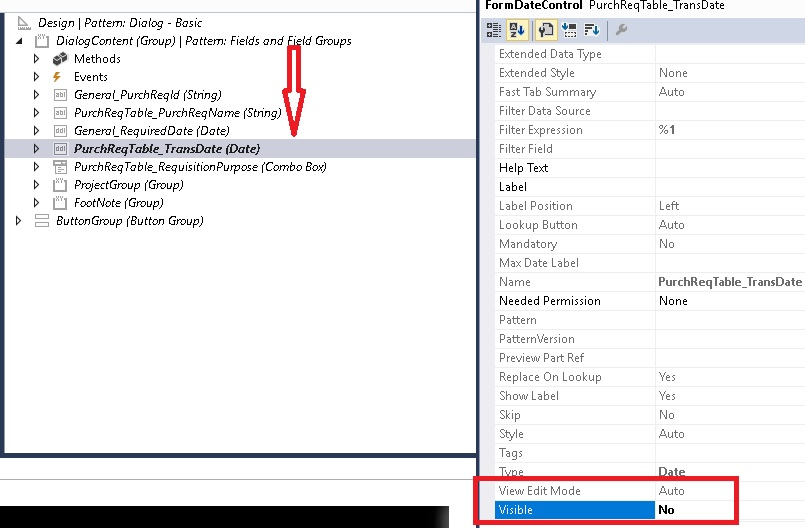 Hide field in D365 AX - Dynamics 365 for Finance and Operations