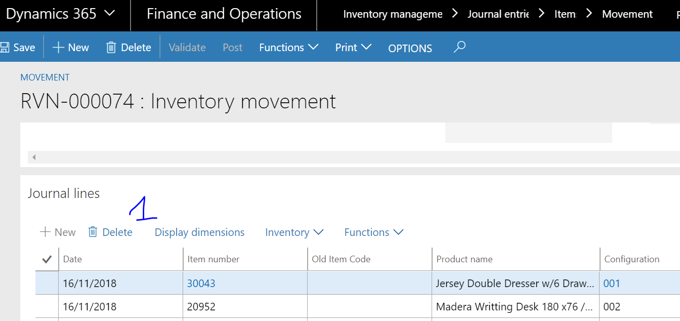 Role delete journal line on movement - Dynamics 365 for Finance and