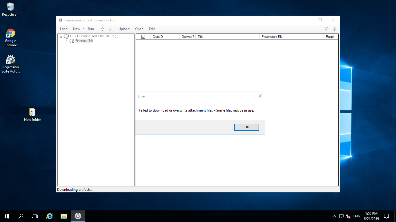 When i am loading test plan in RSAT tool its giving me error