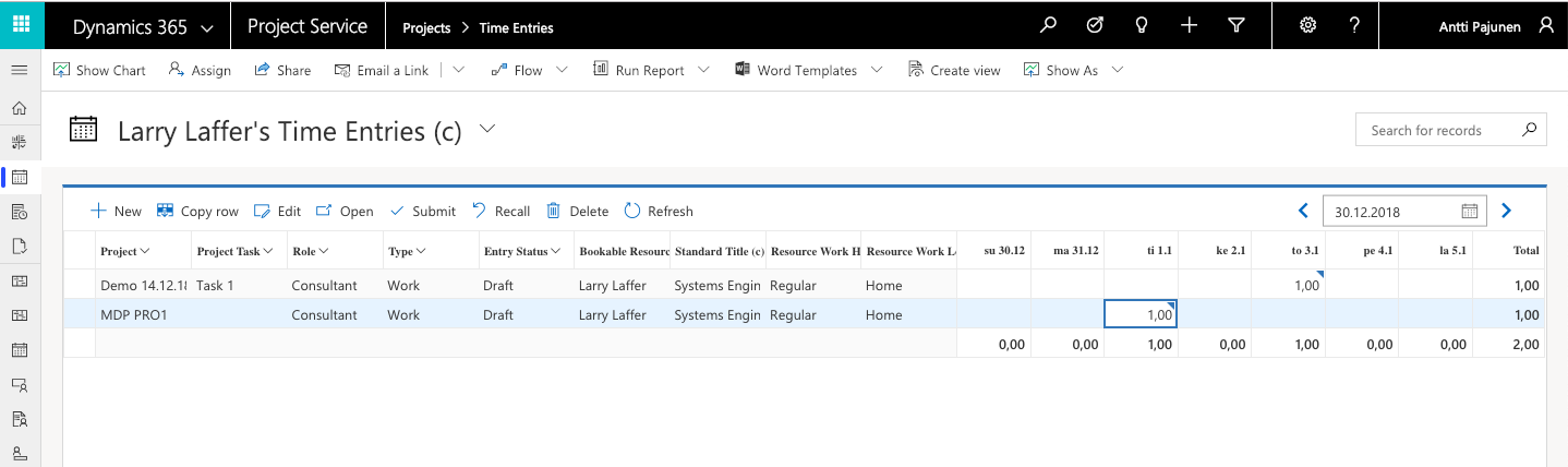 PSA V3 3 Timesheet Entries - Dynamics 365 for Project