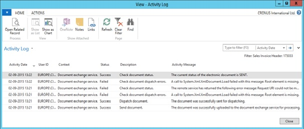 Activity Log - Microsoft Dynamics NAV Community