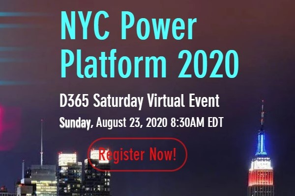 NYC Metro Dynamics 365 and Power Platform Saturday | August 23, 2020