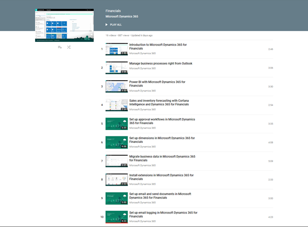 new videos for dynamics 365 for financials released microsoft