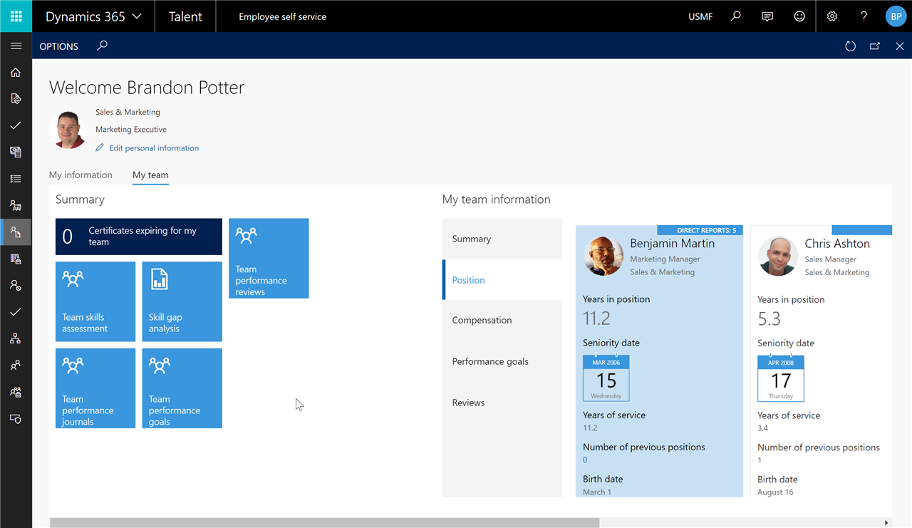 Manager's team view in Dynamics 365 for Talent