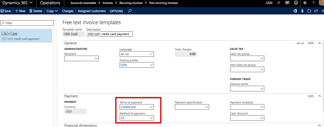 Recurring Invoices Payment With Credit Card Microsoft Dynamics Ax