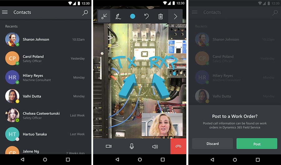 screenshots of mobile remote assist
