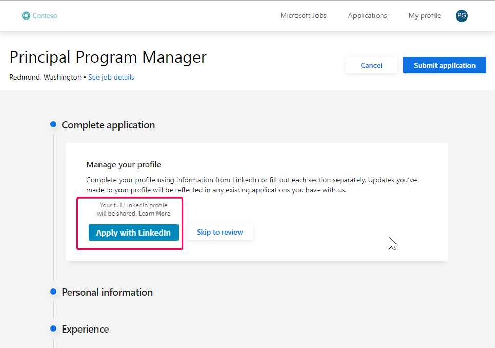 Dynamics 365 for Talent now supports Apply with LinkedIn