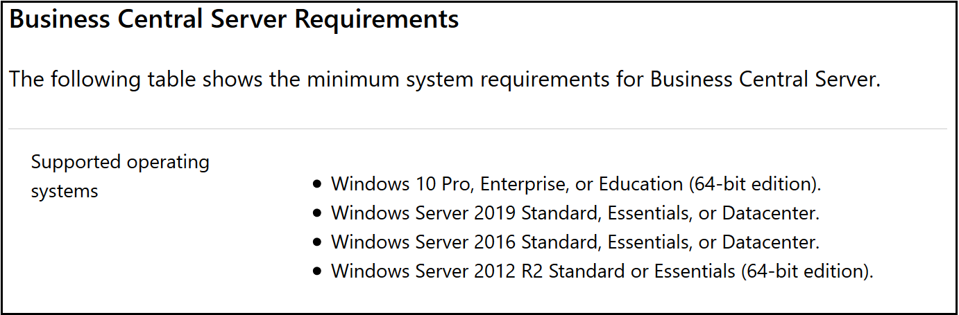 Dynamics 365 Business Central and Windows Server 2019
