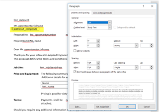 Suppressing Blank Address Lines in CRM 2016 Word Template