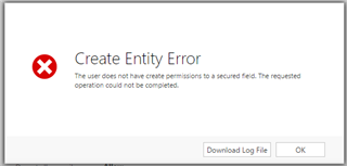 No create permission for secured field - Microsoft Dynamics