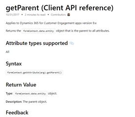 Method to get parent form's formcontext from editable grid's