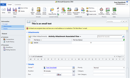 How to delete E-mail attachments only  - Microsoft Dynamics