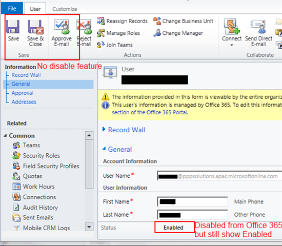 CRM Online - Disabling users after migrate to Office 365