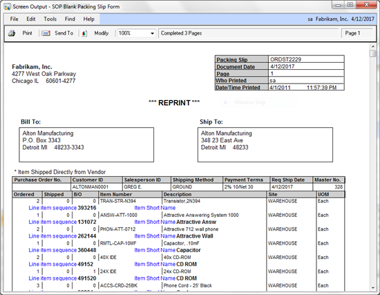 Microsoft Dynamics Community  Packing Slip Example