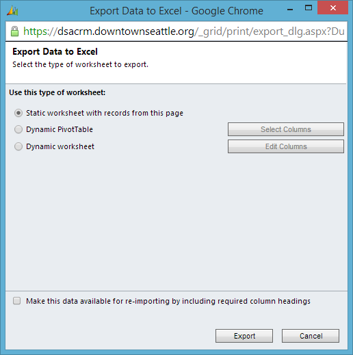 Cannot export to excel using Chrome - Microsoft Dynamics CRM