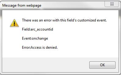 Error on Account Lookup field in the Opportunity form in CRM