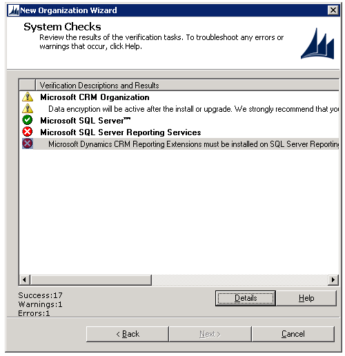 Microsoft Dynamics CRM Reporting Extensions must be