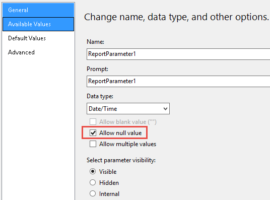 How to set a blank date field on SSRS report builder - Microsoft