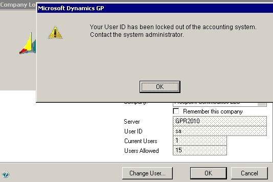Dynamics GP user SA - Your ID has been locked out of the