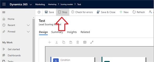 Lead Scoring Model page with the Stop button in the menu highlighted