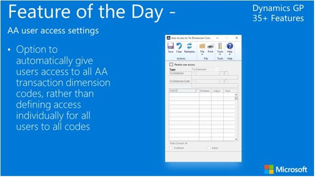 Dynamics GP 2016 Feature of the Day: Analytical Accounting User