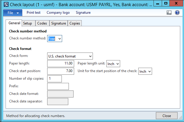Bottom position check layout for Cheque_US report
