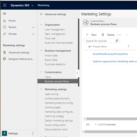 Business Process Flows in Customization of D365 Marketing's Advanced settings