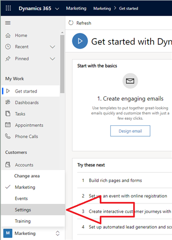 Change to Settings area in D365 Marketing